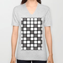 BLACK GREY AND WHITE RECTANGLE TILE  {BASIcs JHD} Unisex V-Neck