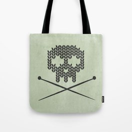 Knitted Skull / Knitting with Attitude (Black on Greenish Grey) Tote Bag