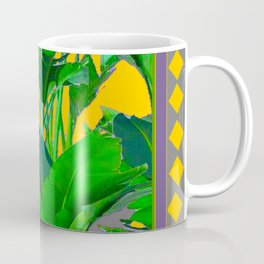 MAUVE YELLOW DIAMONDS TROPICAL GREEN & GOLD FOLIAGE Coffee Mug