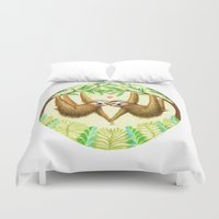sloths Duvet Covers featuring Sloths in Love by Kirsten Sevig