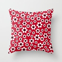 Dizzy Daisies - Red 2 - more colors Throw Pillow