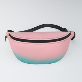 Modern abstract emerald green pink coral ombre Fanny Pack