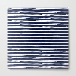 Navy Blue Stripes on White II Metal Print