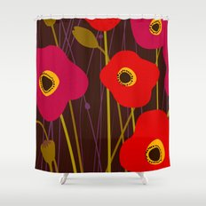 Red Poppy Flowers by Friztin Shower Curtain