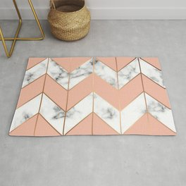 LUXE ROSE GOLD VECTOR ON BLACK AND WHITE MARBLE Rug