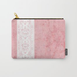Delicate White Stripe Butterfly Pattern Pink Texure Design Carry-All Pouch