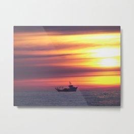 Fishing Boat At Sunrise Metal Print