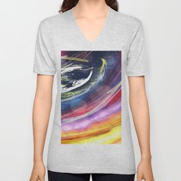when the moon burst with love Unisex V-Neck