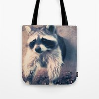 racoon Tote Bags featuring racoon by oslacrimale