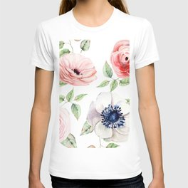 Pretty Red Rose + Pink Roses Pattern T-shirt