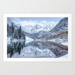 The Snowy Bells - Maroon Bells Aspen Colorado Art Print