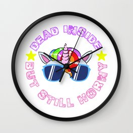"Naughty Adult Humor Gift Shirt With Text ""Dead Inside But Still Horny"" T-shirt Design Magical Wall Clock"