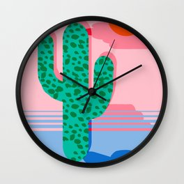 No Foolin - retro throwback neon art design minimal abstract cactus desert palm springs southwest  Wall Clock