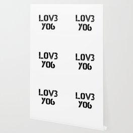 Love you typography white pattern Wallpaper