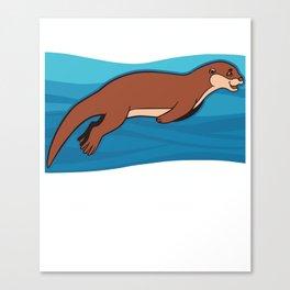 I Just Really Like Otters OK Funny Sea Lutra Animal Humor Pun Cool Gift Canvas Print