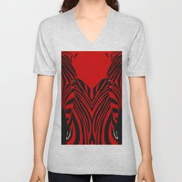Art print: Red zebra pop art Unisex V-Neck