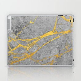 Grey Marble and Gold Laptop & iPad Skin