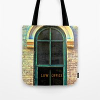 the office Tote Bags featuring Law Office by Biff Rendar