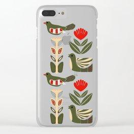 Folk art birds and flowers in a Scandinavian pattern Clear iPhone Case