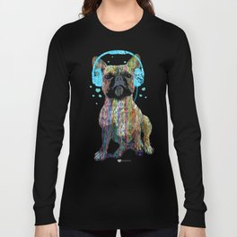 French Bulldog With Headphones Long Sleeve T-shirt