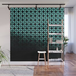 Textured teal and black Shippo ombre - traditional Japanese pattern Wall Mural