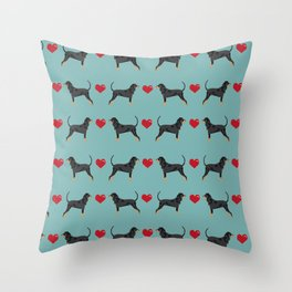 Coonhound love hearts valentines day cute dog breed gifts for coonhounds Throw Pillow