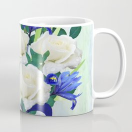 Blue Iris and Roses Bouquet with Blue Bow Coffee Mug