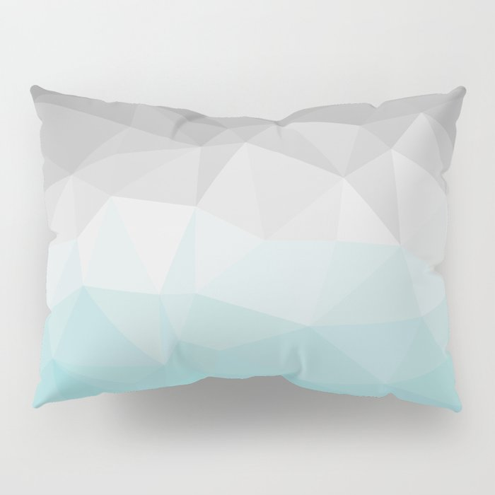 light blue and grey polygon Pillow Sham