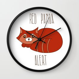 Funny little abstract red panda Wall Clock