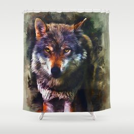 Wolf Timber Shower Curtain