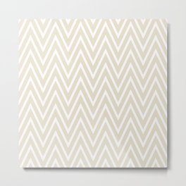 Beige & White Chevron Pattern  Metal Print