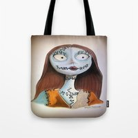 nightmare before christmas Tote Bags featuring Sally from nightmare before Christmas by Melissa Rodriguez