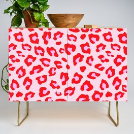 Leopard Print - Red And Pink Credenza