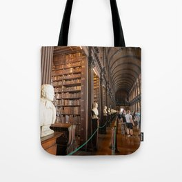 The Long Room of Trinity College Library in Dublin, Ireland Tote Bag