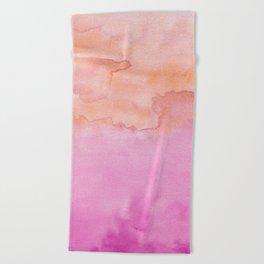 Watercolor Pink Orange Duo Beach Towel