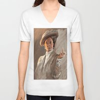 downton abbey V-neck T-shirts featuring Downton FU by Wanker & Wanker