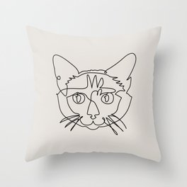 One line Siamese Cat Throw Pillow