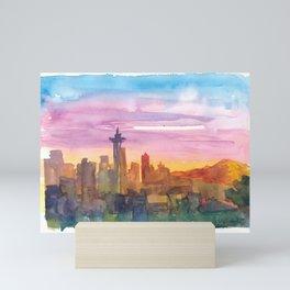 Seattle Washington Skyline in Golden Sunset Mood Mini Art Print