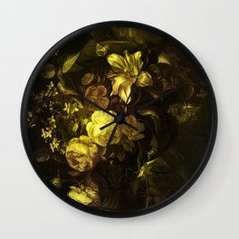 Flowers in a Vase - yellow Wall Clock