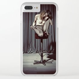 Nude Woman sitting on a barstool Clear iPhone Case