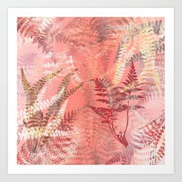Elegant Coral Gold Fern Leaves Abstract Pattern Art Print