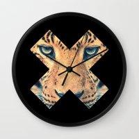 leopard Wall Clocks featuring Leopard by Zavu