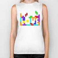 tetris Biker Tanks featuring Tetris Love by Wheel of Fortune