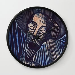 Don Quixote in Blue and Rust Wall Clock