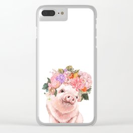 Lovely Baby Pig with Flowers Crown Clear iPhone Case