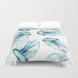 Watercolor Aqua Jellyfish Duvet Cover