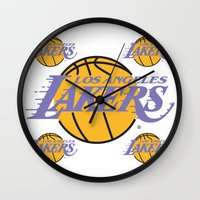 lakers Wall Clocks featuring Lakers by Dexter Gornez