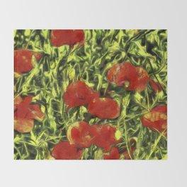 Poppys Van Goth Oil Pastel Art Throw Blanket