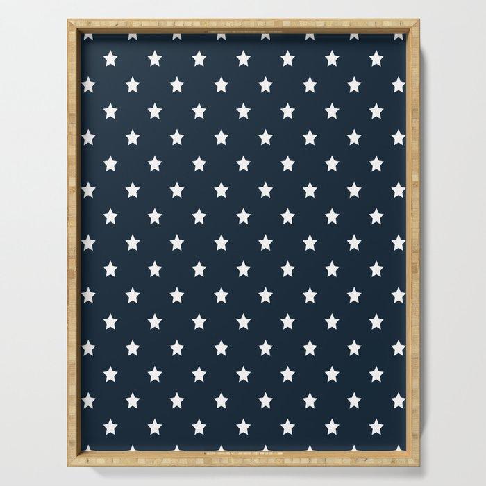 Dark Blue With White Stars Pattern Serving Tray