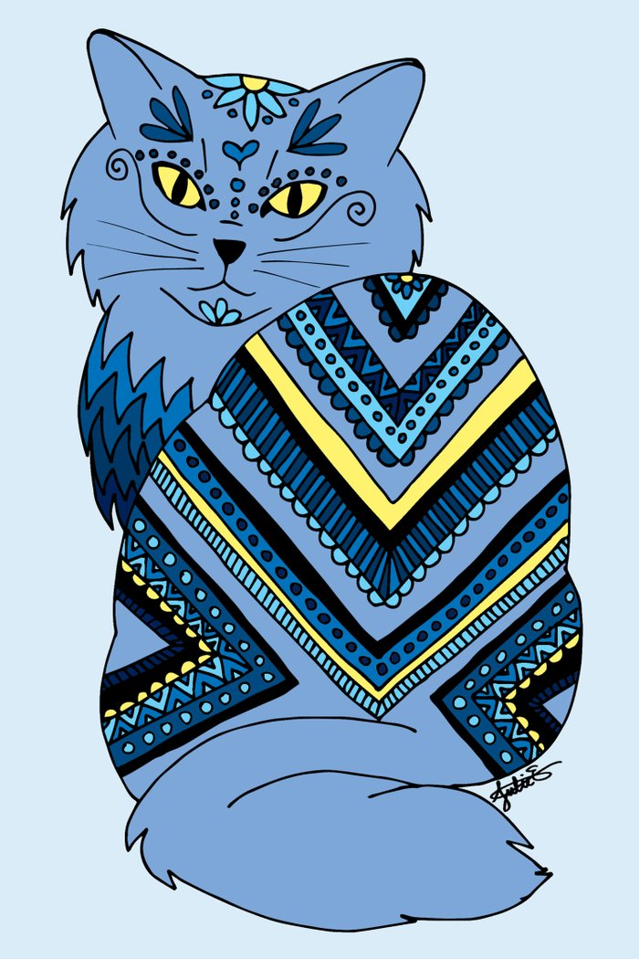 decorated zentangle tribal blue kitty cat drawing